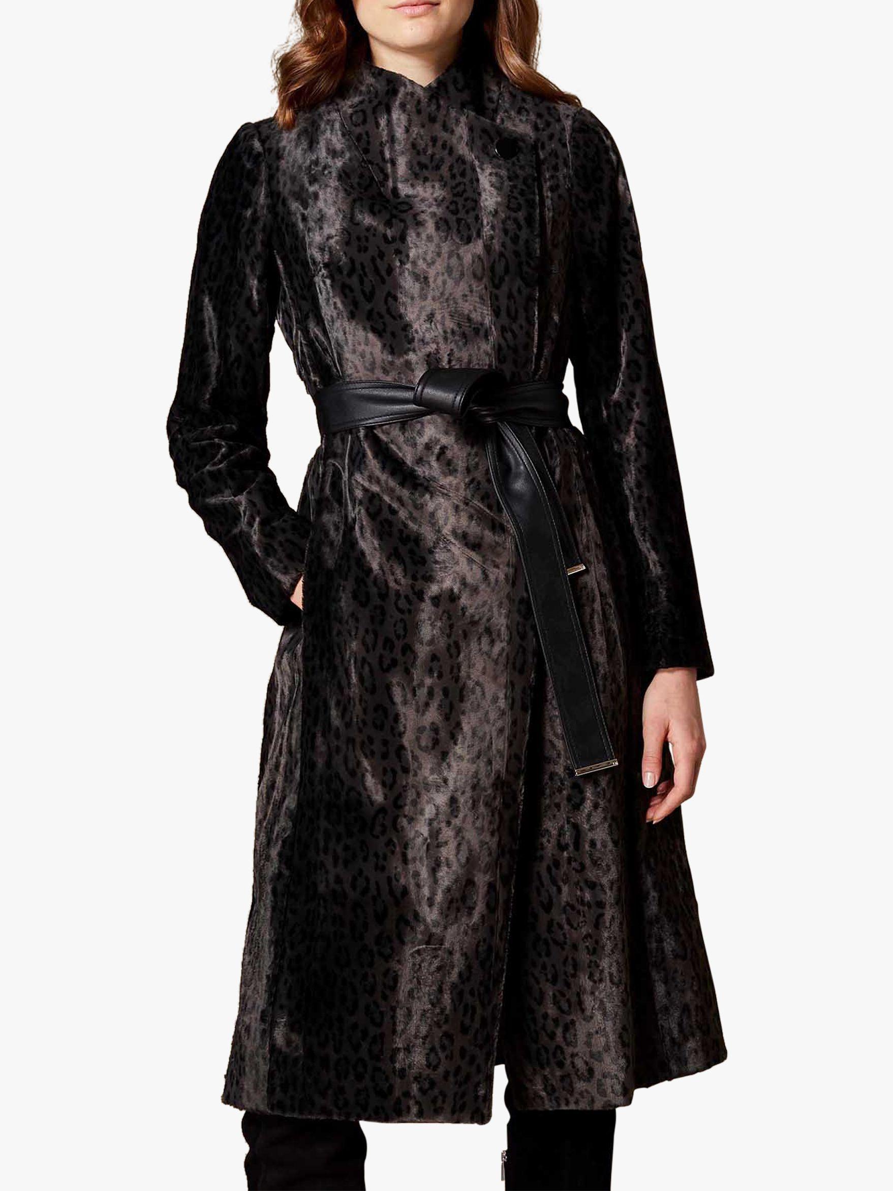 74546df1a597 Karen Millen Leopard Print Wrap Coat, Black at John Lewis & Partners