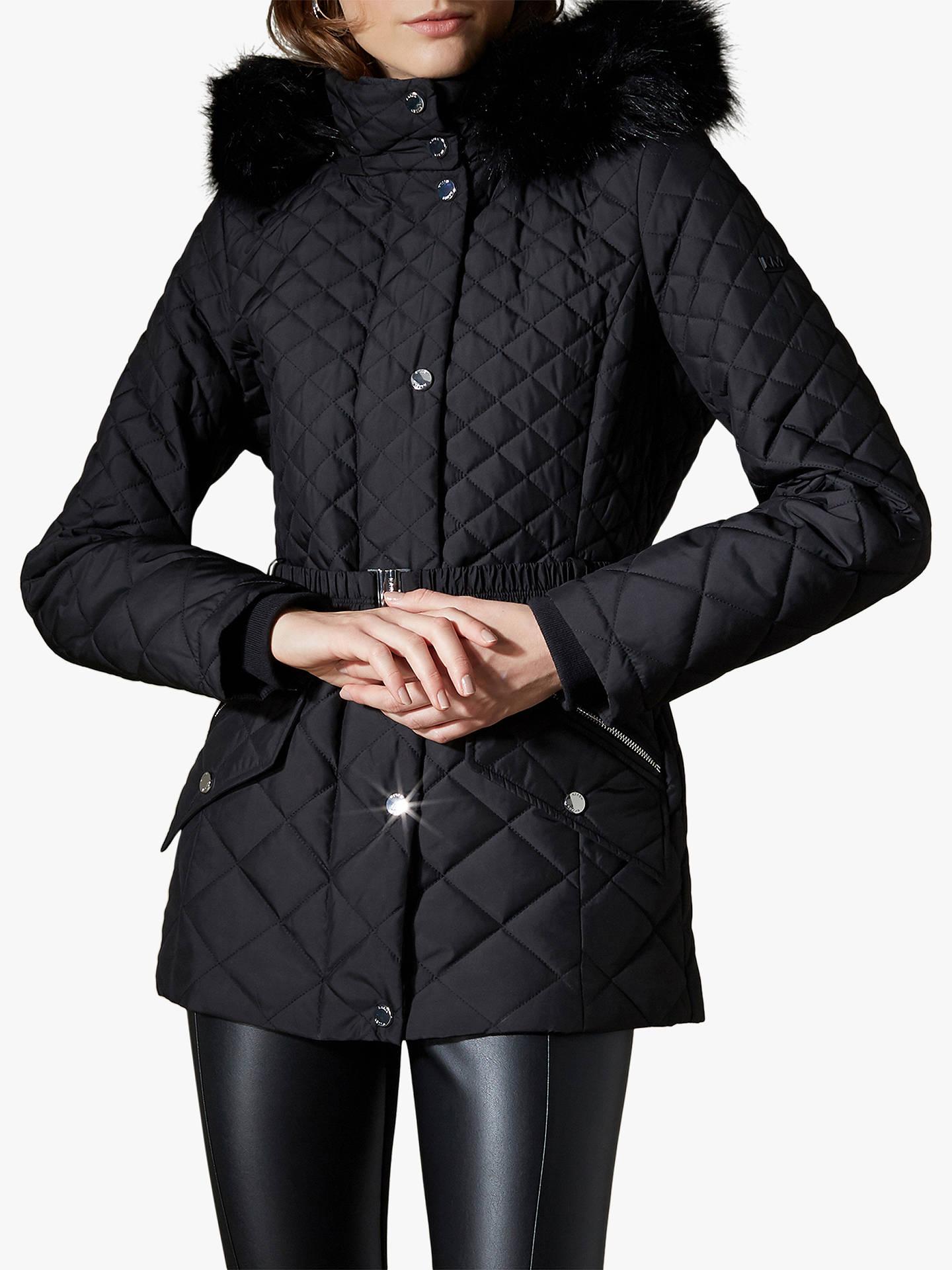 35614c6fead Buy Karen Millen Belted Puffer Coat, Black, 12 Online at johnlewis.com ...