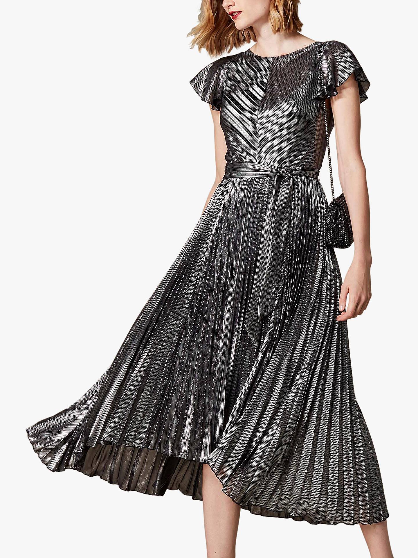176468a8874 Buy Karen Millen Metallic Pleated Midi Dress, Silver, 6 Online at  johnlewis.com ...