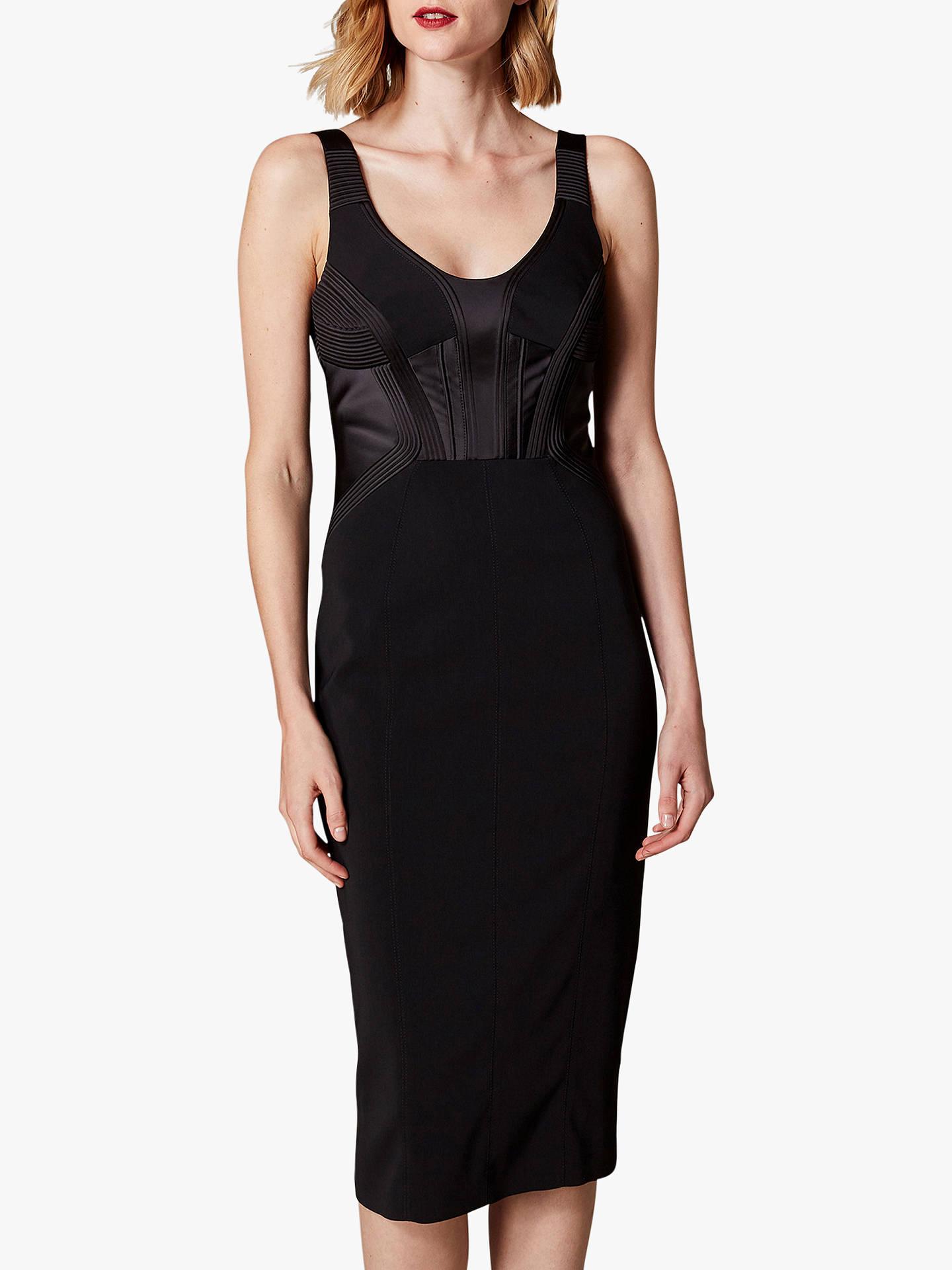 e110034688594 Karen Millen Corset Bodice Midi Dress, Black at John Lewis & Partners