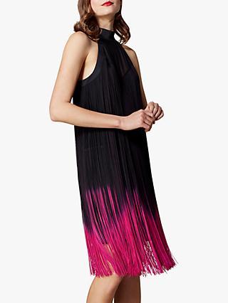 Karen Millen Dip Dye Fringed Mini Dress Black Pink