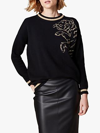 Karen Millen Tiger Jumper, Black/Multi
