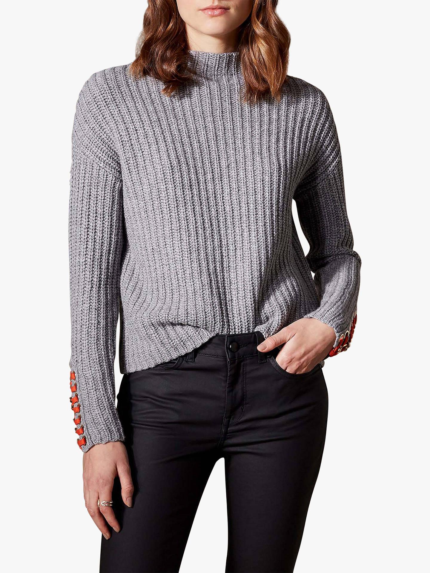 c49de9da099 Buy Karen Millen Tie Cuff Rib Knit Jumper, Grey, L Online at johnlewis.