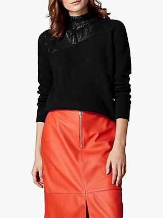 Karen Millen Sequin Roll Neck Jumper, Black