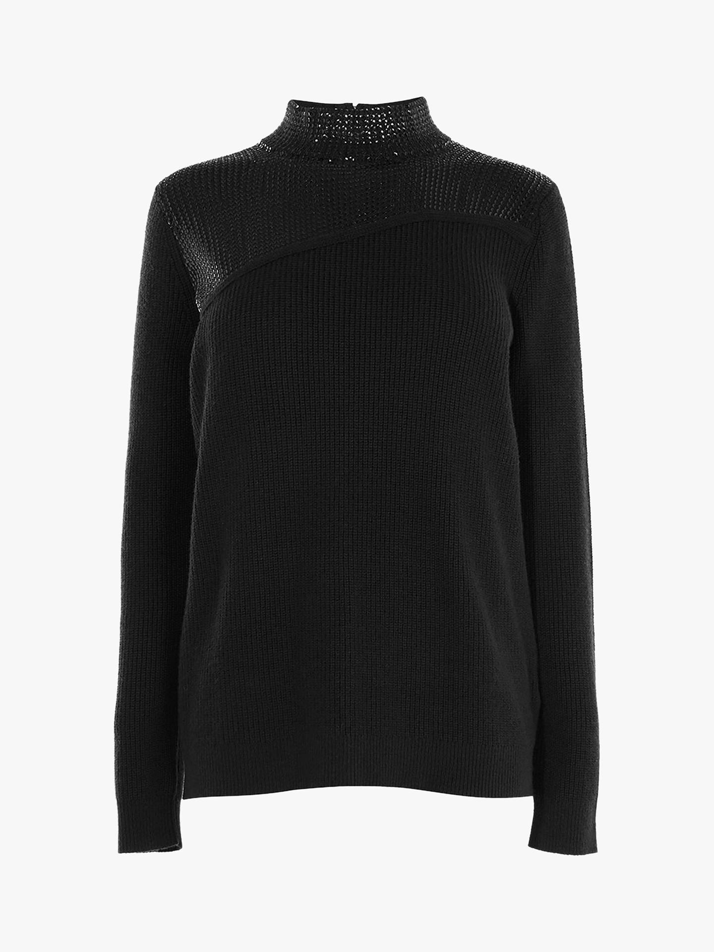 BuyKaren Millen Sequin Roll Neck Jumper, Black, XS Online at johnlewis.com
