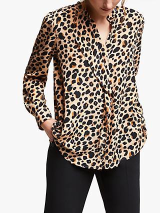 db7983ffcf519 Marella Leopard Print Ruffle Front Silk Shirt