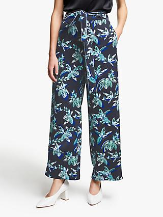 Marella Palm Print Wide Leg Trousers, Midnight Blue