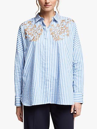 Marella Stripe Embroidered Shirt, Light Blue
