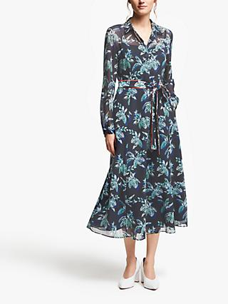 Marella Palm Print Belted Midi Dress, Midnight Blue