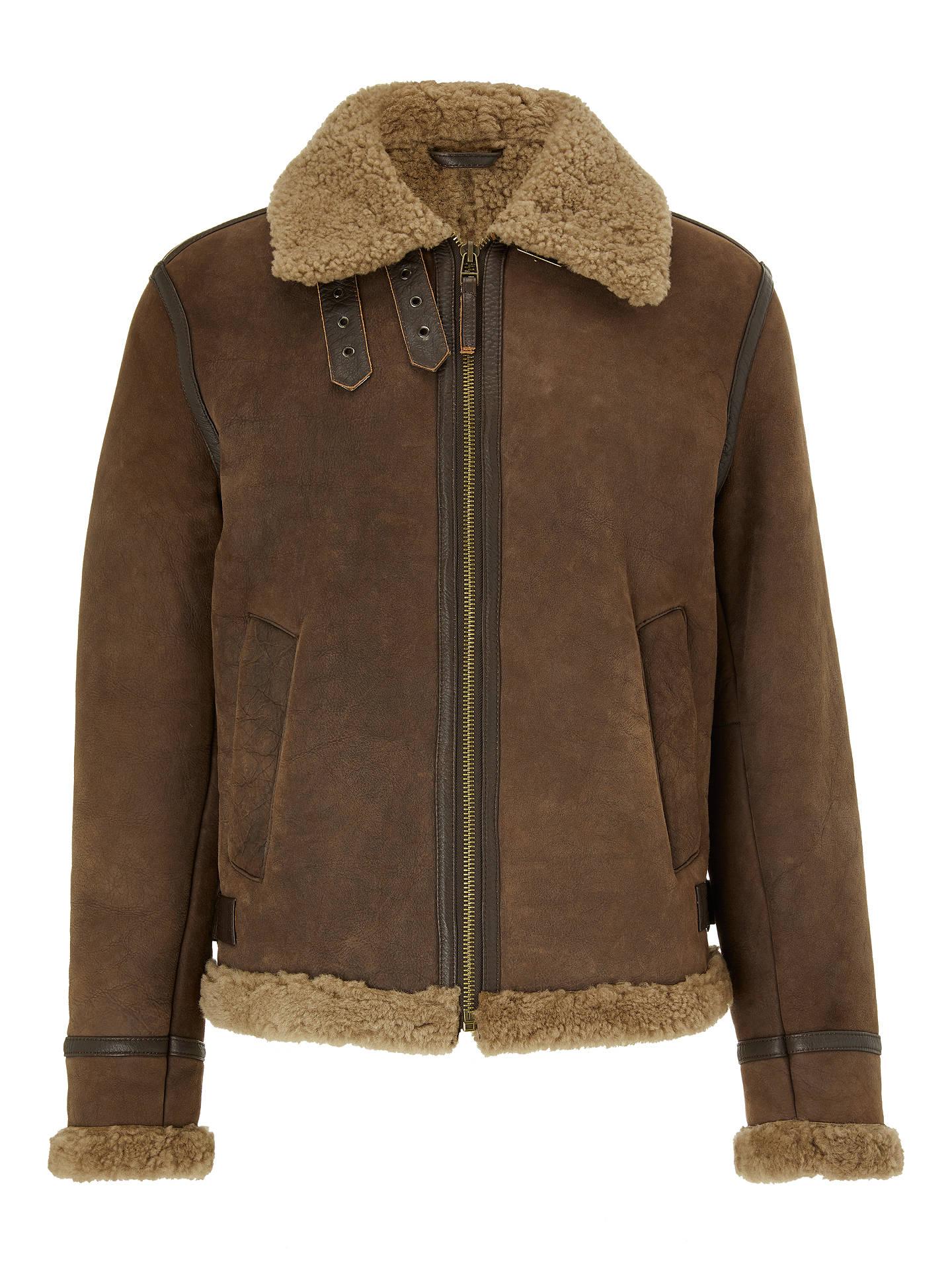 John Lewis Co Shearling Leather Flight Jacket Chestnut At John