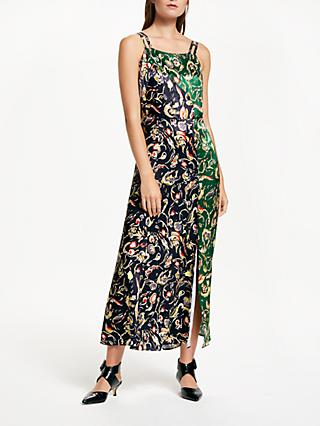 Finery Paloma Two-Tone Abstract Floral Print Dress, Black