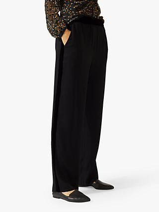 Jigsaw Velvet Trim Trouser, Black