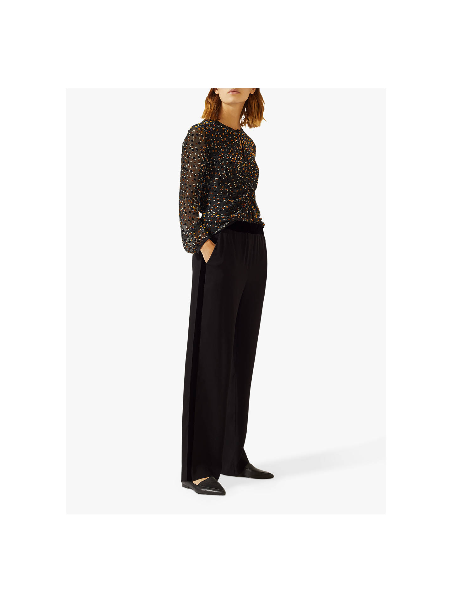 BuyJigsaw Velvet Trim Trouser, Black, 6 Online at johnlewis.com