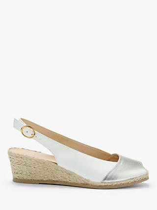 John Lewis & Partners Kaela Wedge Heel Slingback Sandals, White Leather