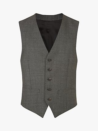 Jaeger Textured Slim Fit Waistcoat, Charcoal