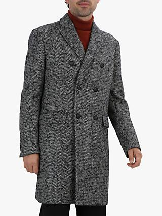 Jaeger Double Breasted Herringbone Coat, Charcoal