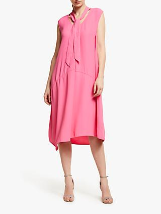 54fdb6abb6 John Lewis   Partners Tie Neck Asymmetric Hem Midi Dress