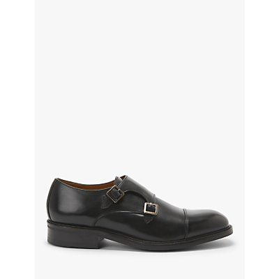 John Lewis & Partners Benedict Leather Monk Shoes, Lapocho Black