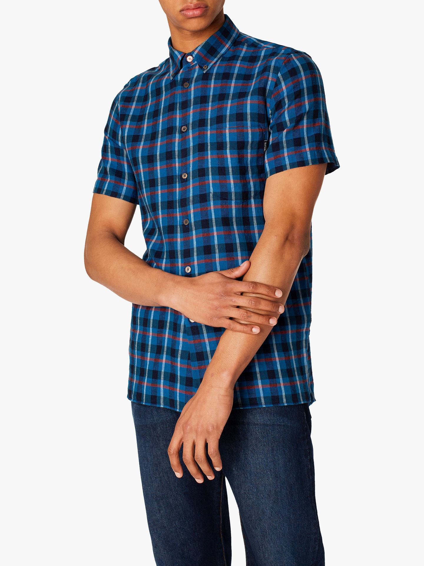 eebbdfba0b3930 Buy PS Paul Smith Cotton Linen Check Shirt, Blue, XXL Online at johnlewis.