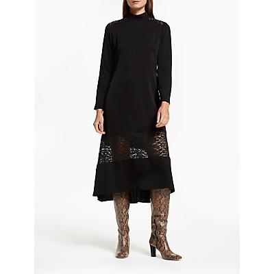 Finery Beladonia Lace Panel Funnel Neck Midi Dress, Black