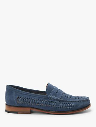 John Lewis & Partners Louis Suede Woven Loafers, Baltic