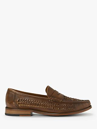 John Lewis & Partners Louis Leather Woven Loafers, Cognac