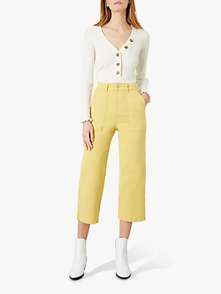 Iden Oprah Wide Leg Cropped Jeans, Ochre Yellow