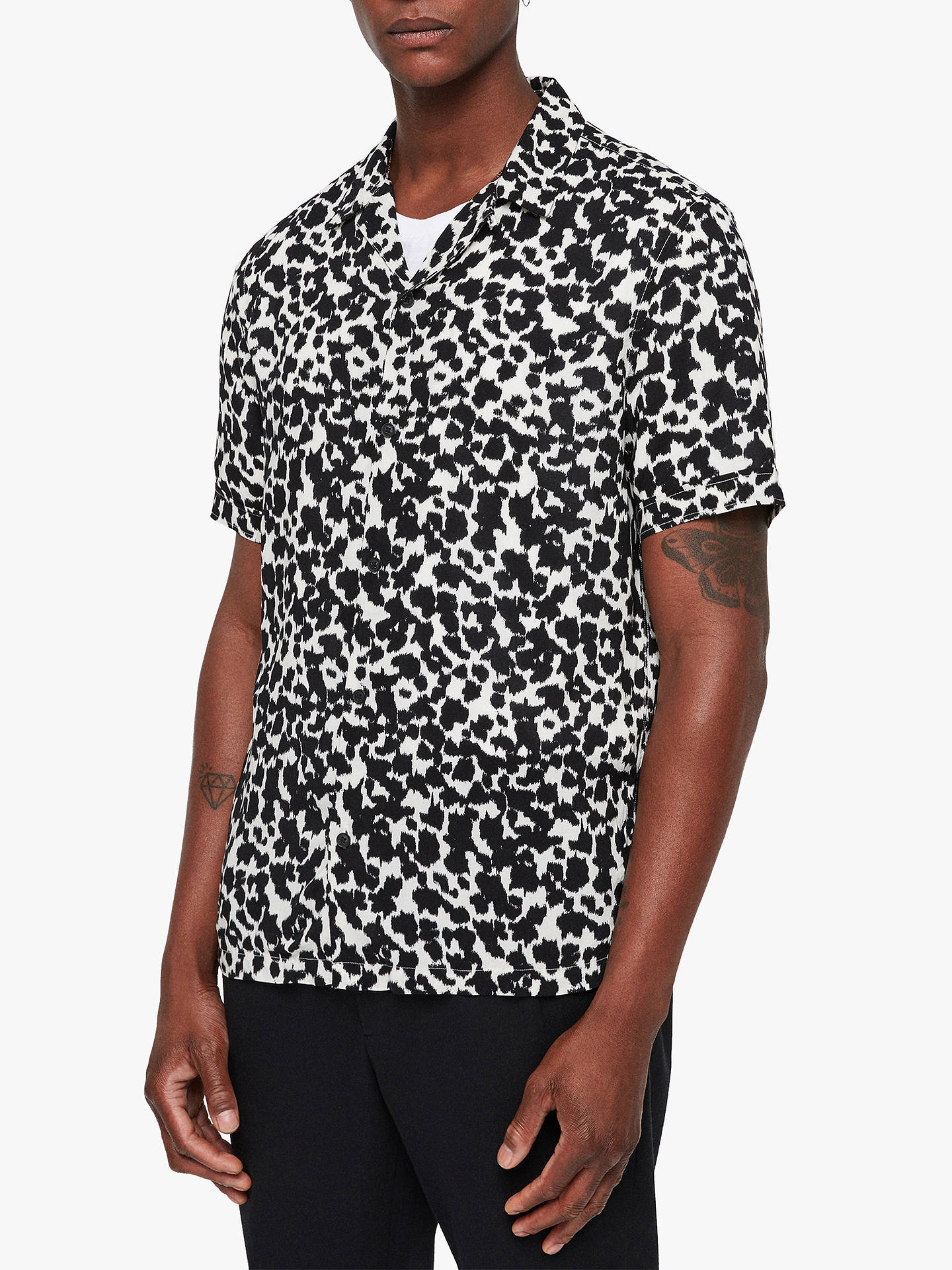 BuyAllSaints Sigfried Animal Print Shirt, Ecru White/Black, L Online at johnlewis.com