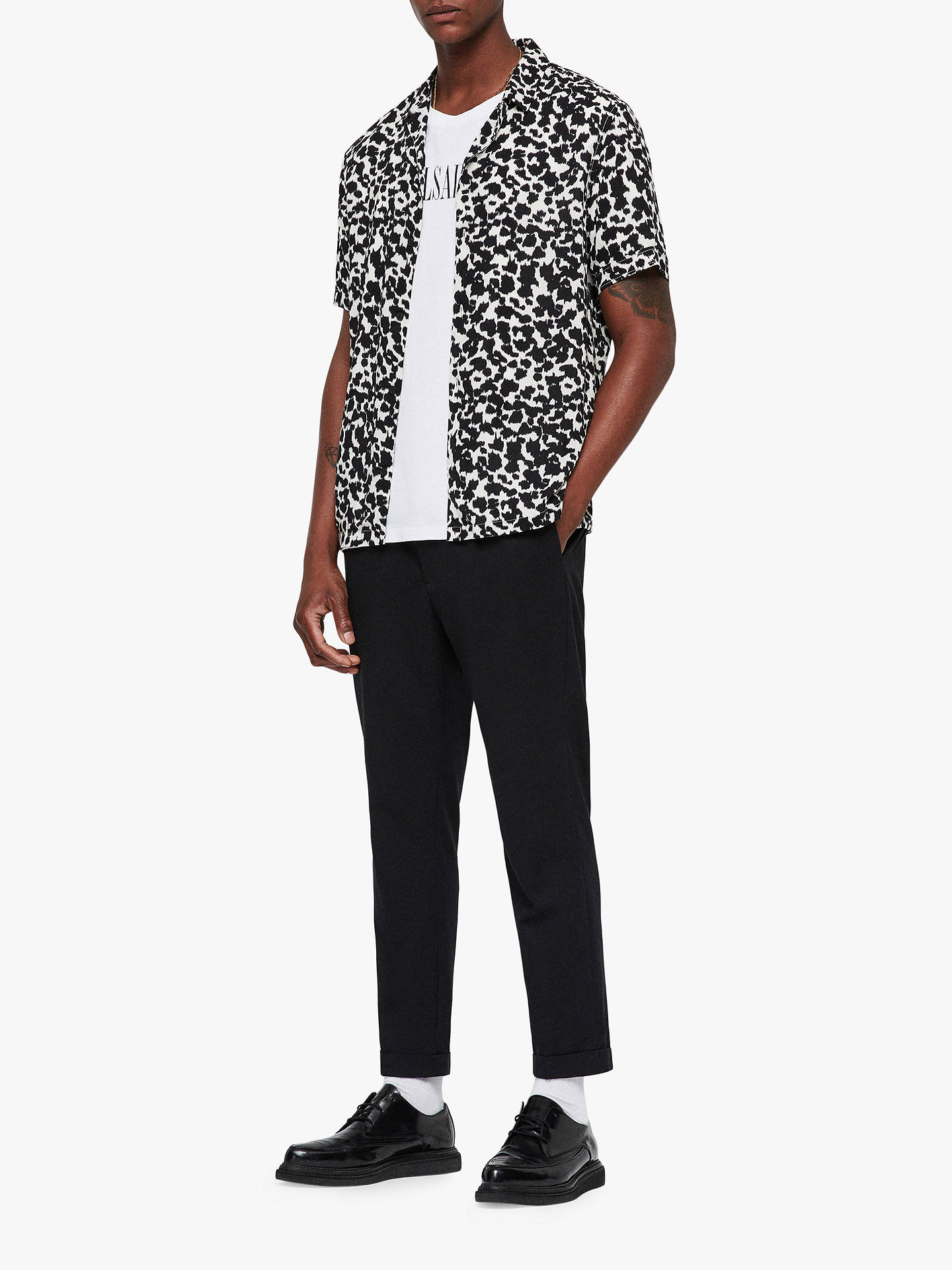 Buy AllSaints Sigfried Animal Print Shirt, Ecru White/Black, L Online at johnlewis.com