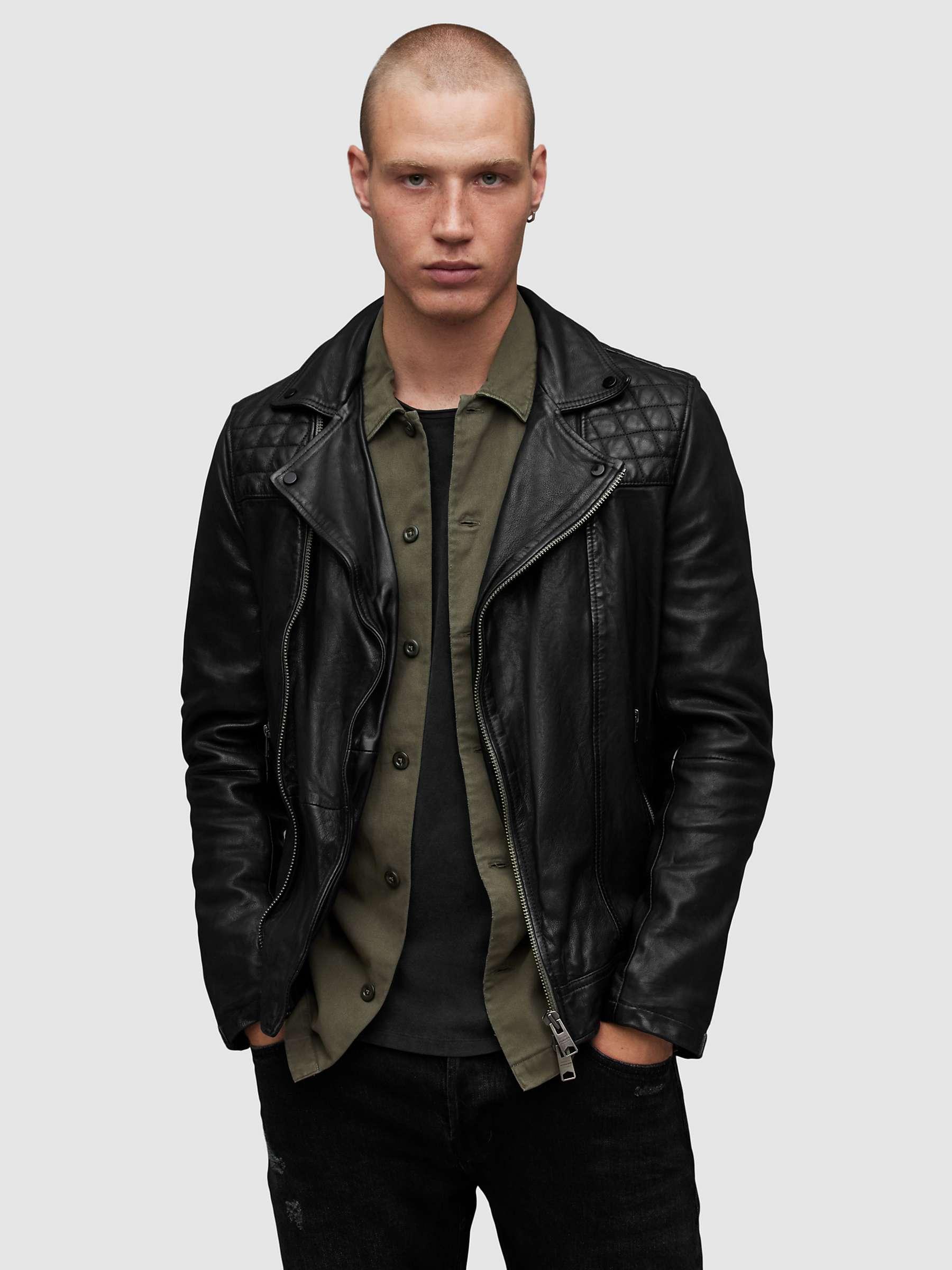 AllSaints Conroy Leather Biker Jacket, Ink Navy