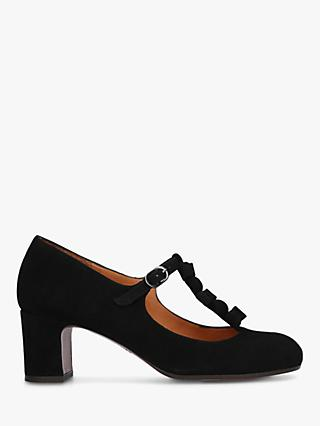 Chie Mihara Preta Block Heel T Bar Suede Court Shoes, Black