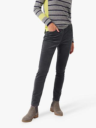 White Stuff Willow Skinny Velvet Trousers, Skye Green