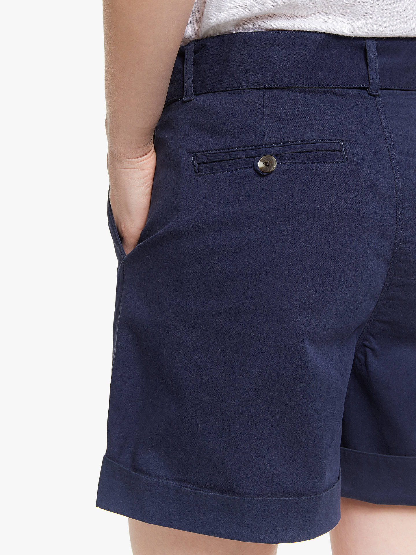Buy John Lewis & Partners Chino Tie Waist Shorts, Navy, 8 Online at johnlewis.com