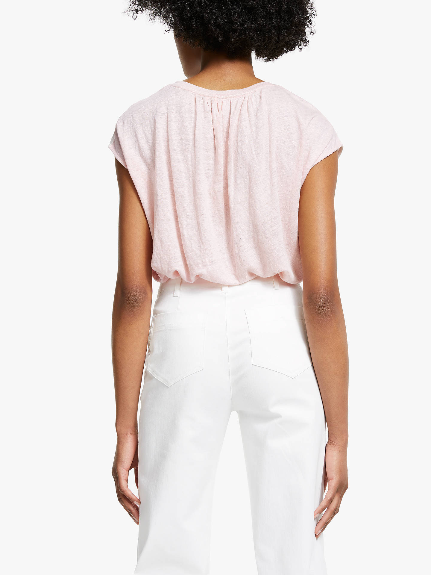 Buy John Lewis & Partners Cotton Linen Colour Block T-Shirt, Pink, 18 Online at johnlewis.com