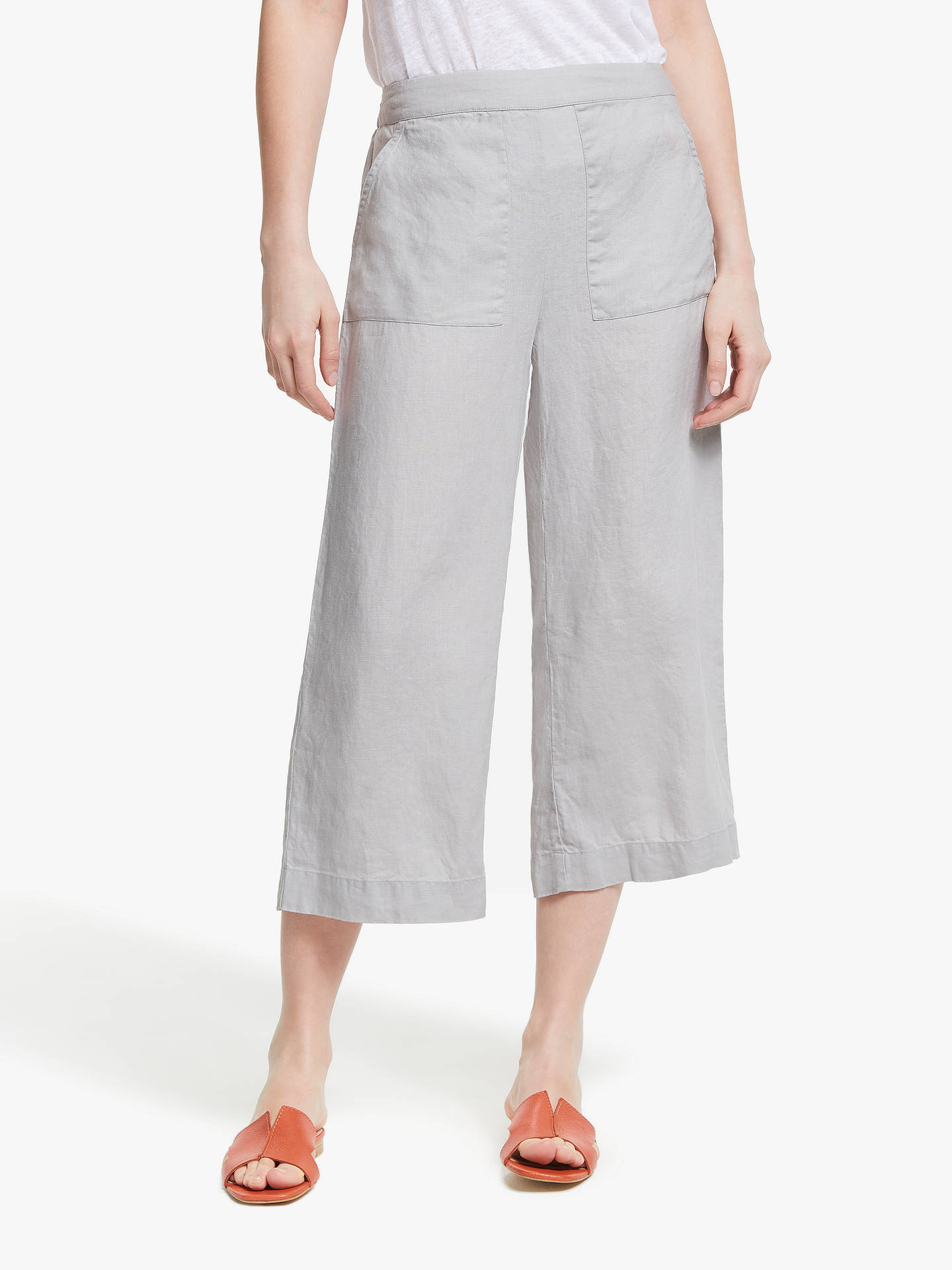 Buy John Lewis & Partners Linen Safari Crop Trousers, Light Grey, 8 Online at johnlewis.com