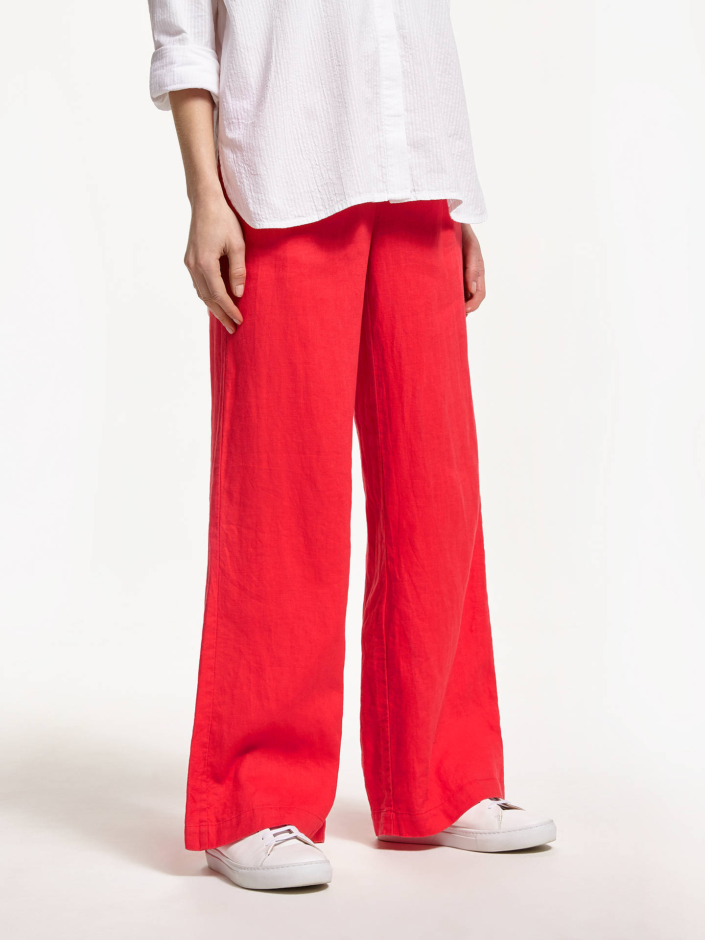 Buy John Lewis & Partners Linen Wide Leg Trousers, Bittersweet Red, 8 Online at johnlewis.com