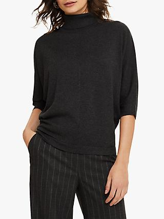 Phase Eight Becca Ribbed High Neck Jumper, Charcoal