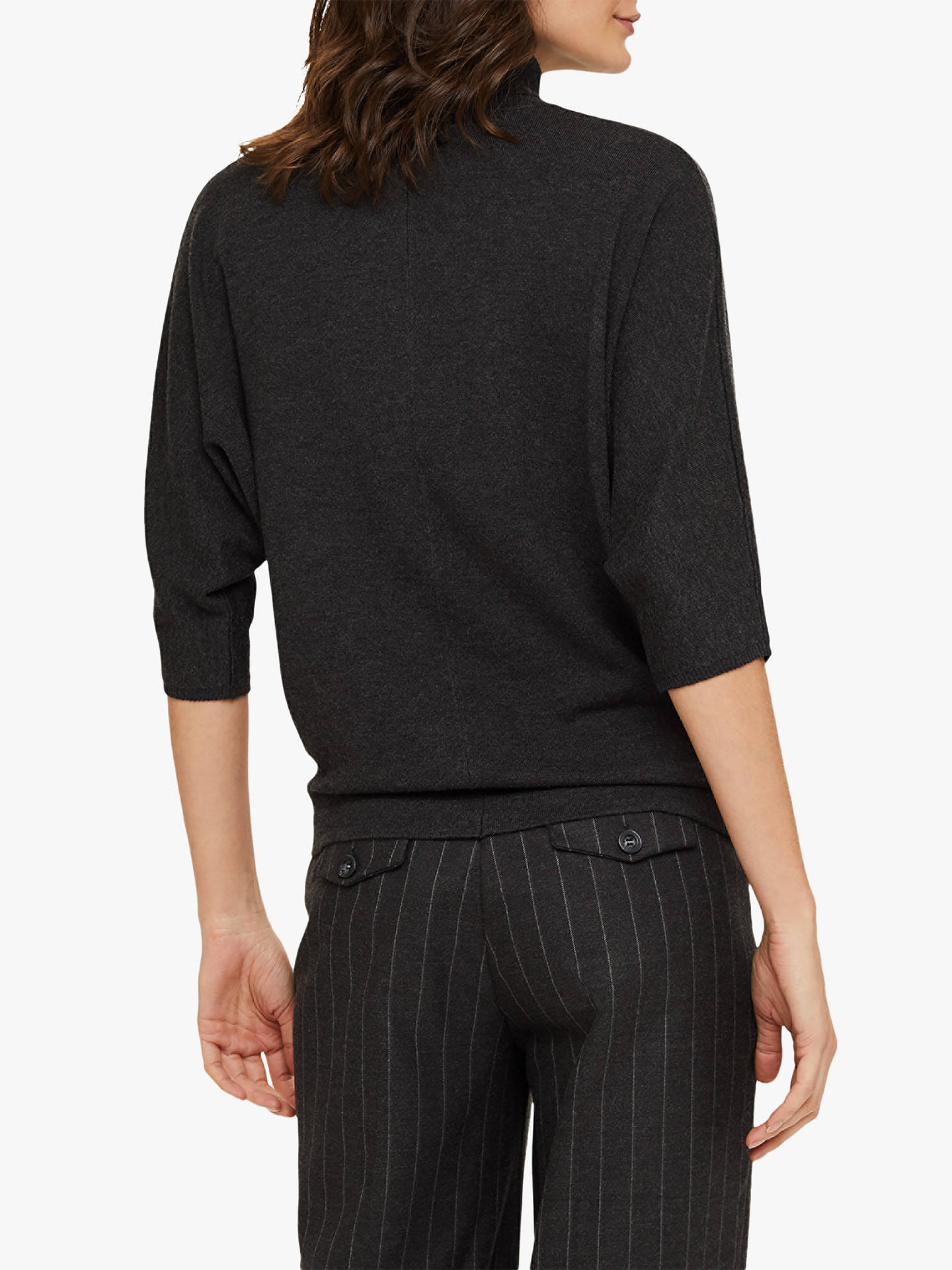 Buy Phase Eight Becca Ribbed High Neck Jumper, Charcoal, S Online at johnlewis.com