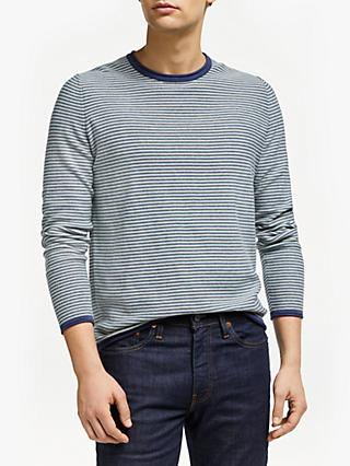 John Lewis & Partners Organic Cotton Reverse Stripe Jumper, Blue