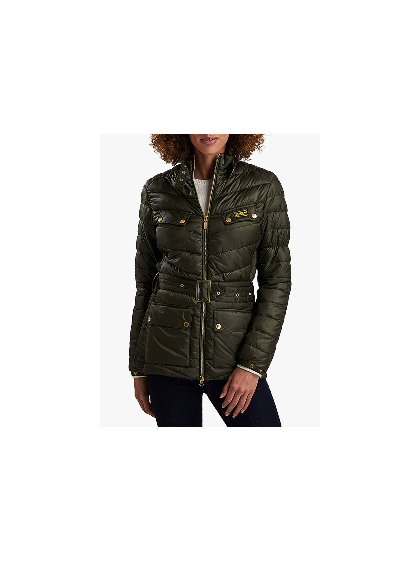 Barbour International Gleann Quilted Jacket Moto Green At