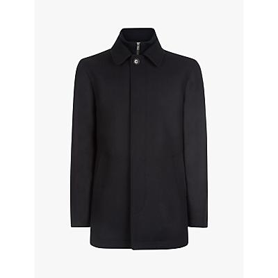 Jaeger Twill Wool Mac Coat, Navy Blue