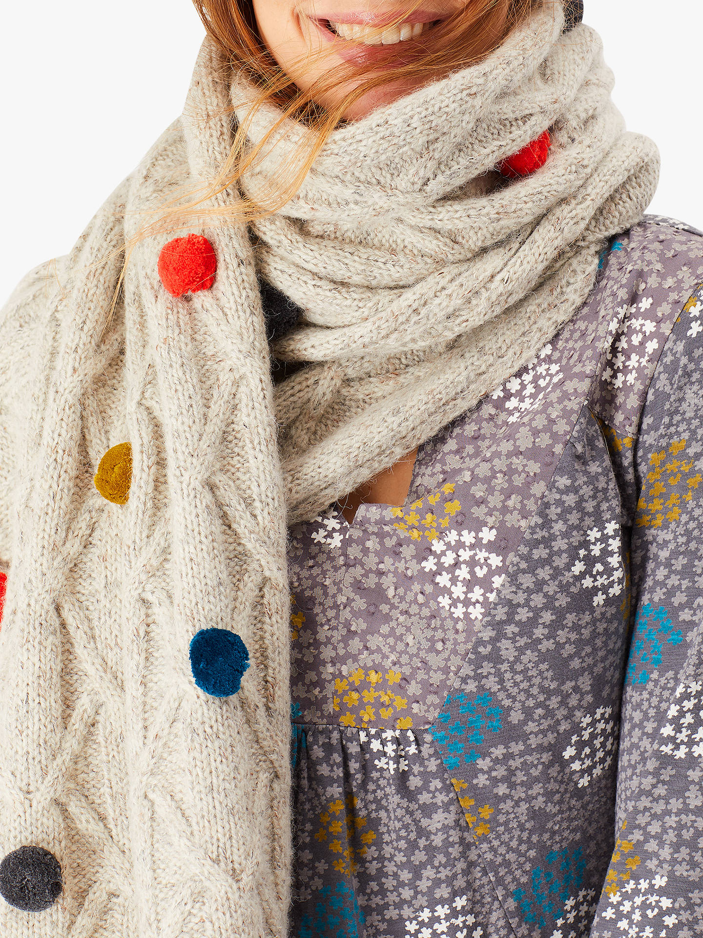e43a10850b Buy White Stuff Cable Knit Pom Scarf, Oatmeal, One Size Online at johnlewis.