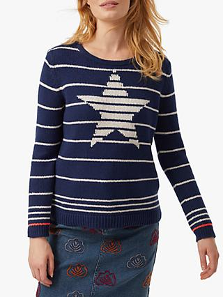 White Stuff Starlight Stripe Jumper, Navy