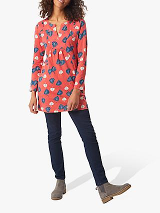 White Stuff Leaf Print Jersey Tunic, Foxy Orange