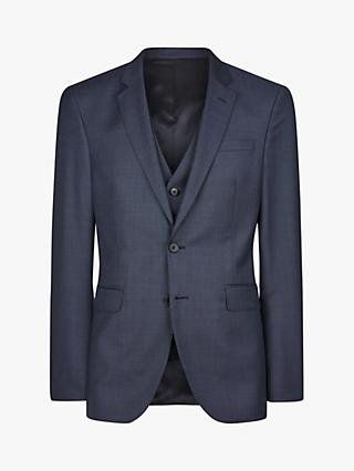 Jaeger Wool Basketweave Regular Fit Suit Jacket, Blue