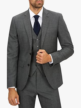Jaeger Wool Textured Slim Fit Suit Jacket, Charcoal
