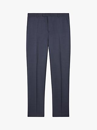 Jaeger Wool Basketweave Regular Fit Suit Trousers, Blue