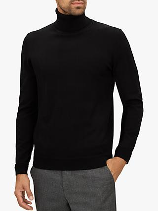 Jaeger Merino Wool Roll Neck Jumper, Black