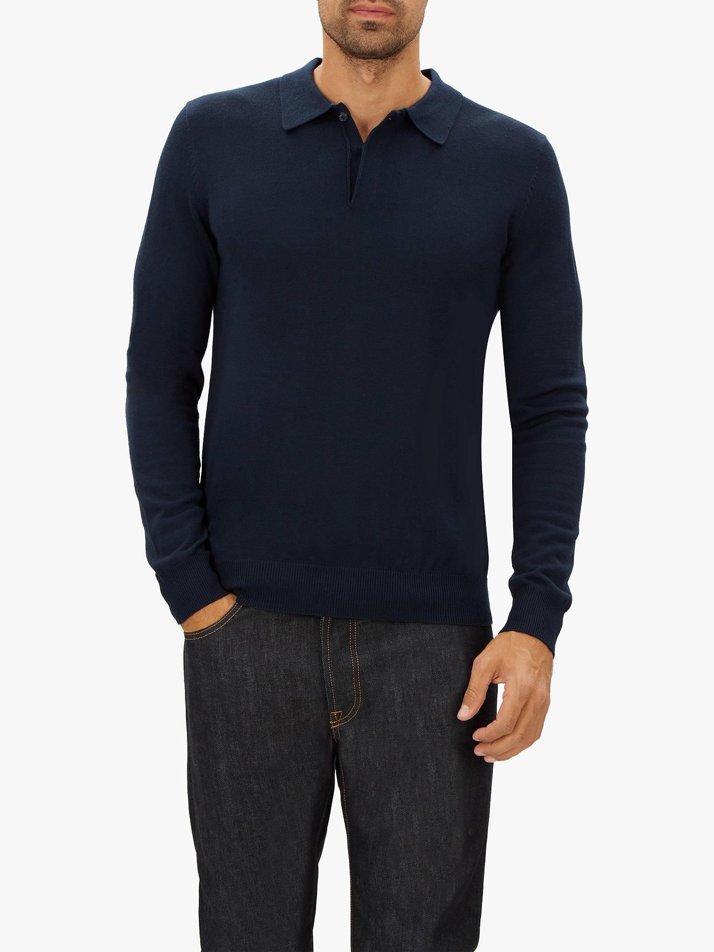 02c88770c033 Buy Jaeger Merino Wool Long Sleeve Polo Shirt, Navy, S Online at johnlewis.