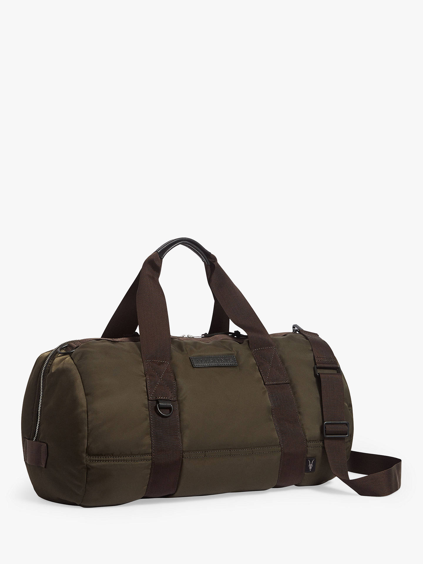 Buy AllSaints Kansai Nylon Holdall, Dark Khaki Brown Online at johnlewis.com